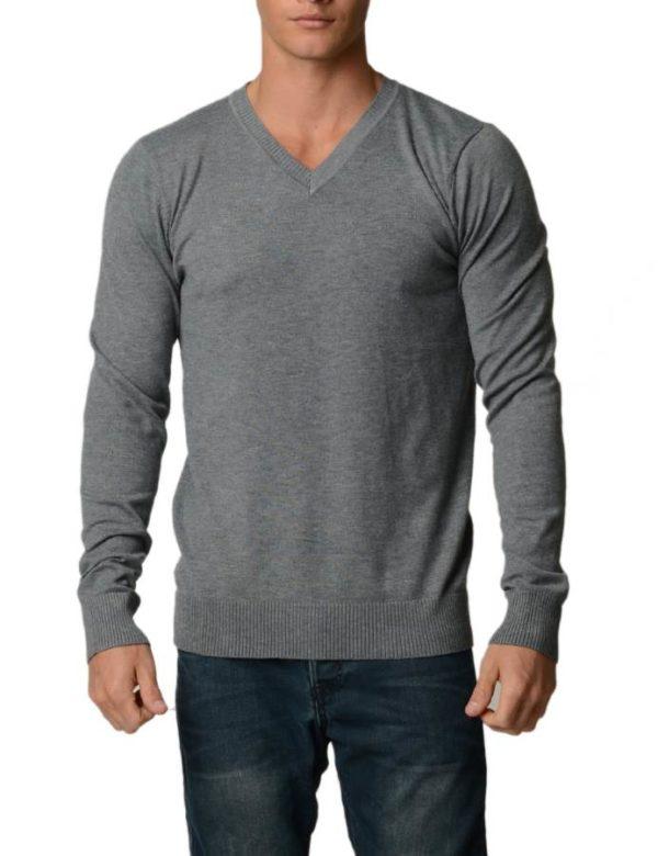 Charcoal Grey Melange Cotton V-Neck Slim-Fit Sweater