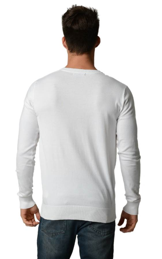 White Cotton V-Neck Slim-Fit Sweater