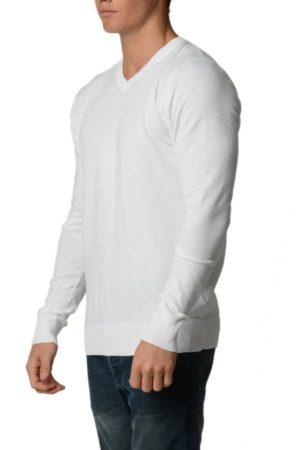 White Cotton V-Neck Slim-Fit Sweater