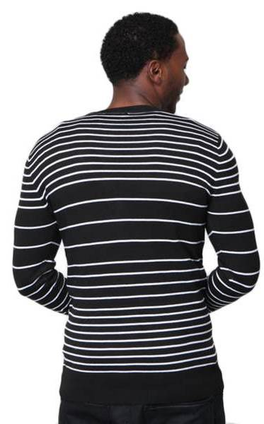Men's Slim Fit White Striped V Neck Black Cardigan