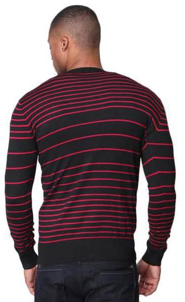 Men's Slim Fit Red Striped V Neck Black Cardigan