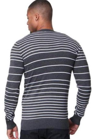 Men's Slim Fit Grey Striped V Neck Black Cardigan