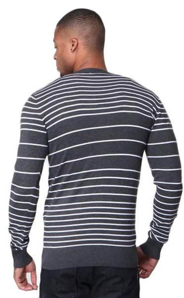 Men's Slim Fit Grey Striped V Neck Black Cardigan