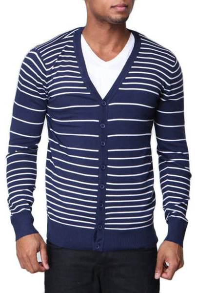 Men's Slim Fit White Striped V Neck Navy Cardigan