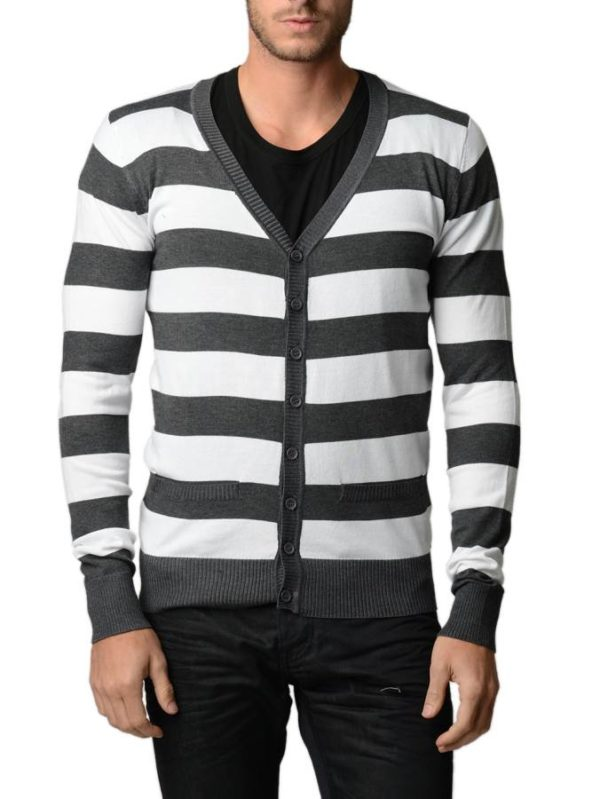 D.Gray And White Horizontal Striped Cardigan