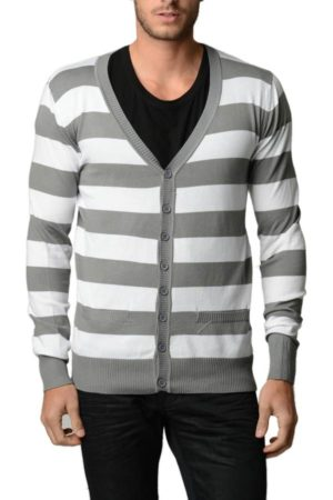Grey/White Horizontal Striped Cardigan