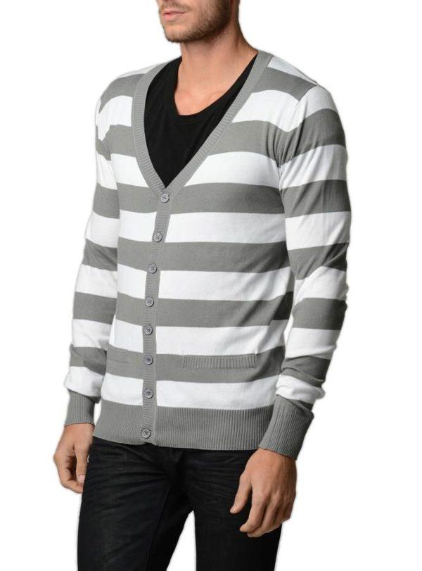 Grey/White Horizontal Striped Cardigan