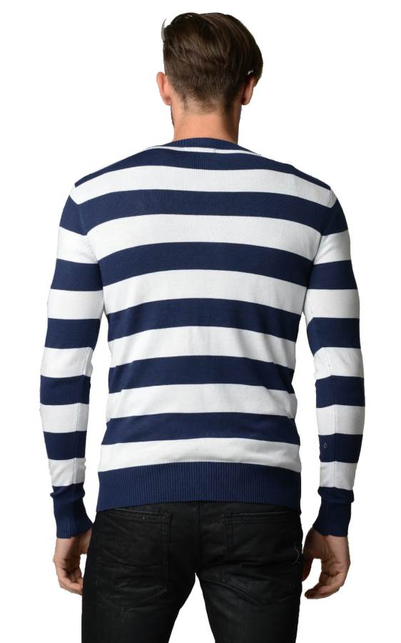 Navy And White Horizontal Striped Cardigan