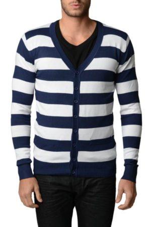 Navy And White Horizontal Striped Cardigan