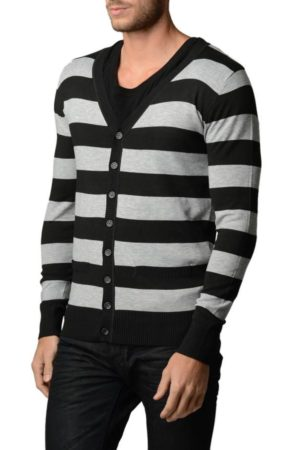 Smokey Grey/White Horizontal Striped Cardigan