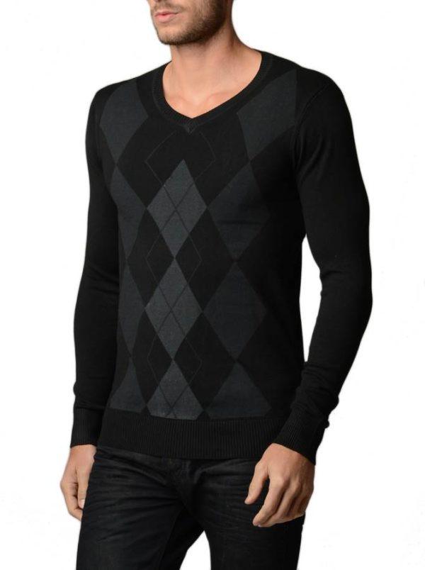 Men's V Neck Charcoal/Black Argyle Sweater