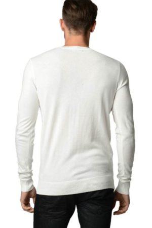 Men's V Neck Cream Argyle Sweater