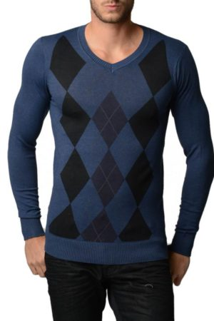 Men's V Neck Indigo Argyle Sweater