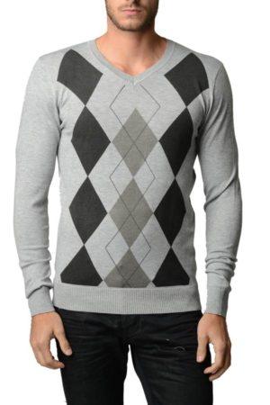 Men's V Neck L.Grey Melange Argyle Sweater