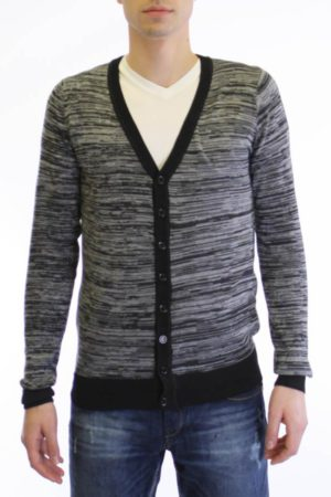 Coal Black Melange V Neck Cardigan