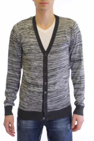 Charcoal Grey Melange V Neck Cardigan