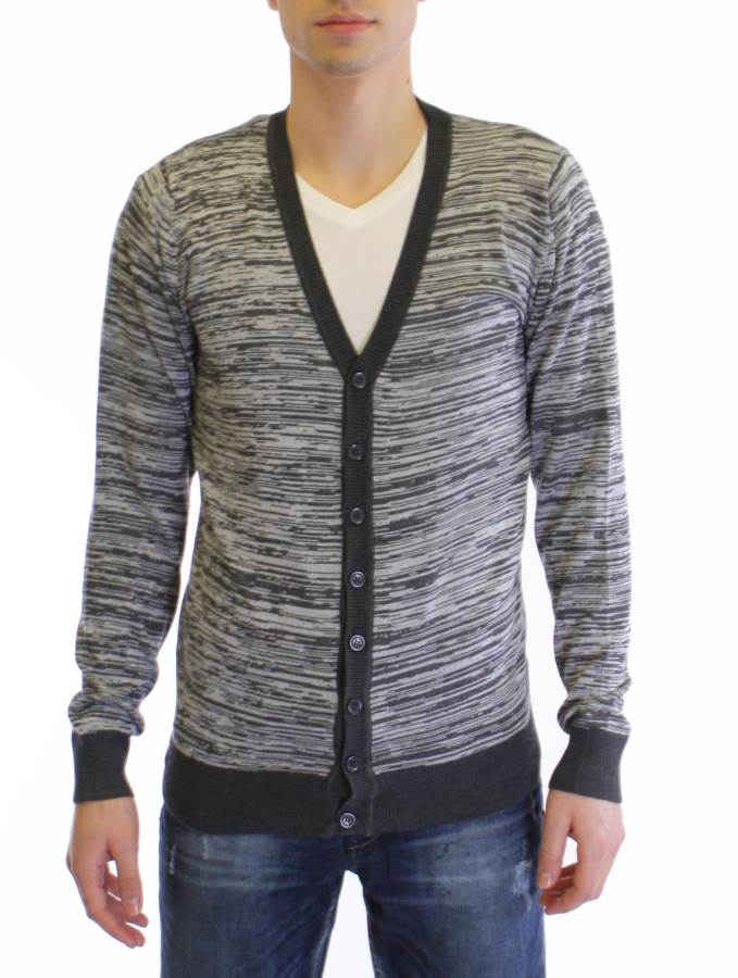 Charcoal Grey Melange V Neck Cardigan