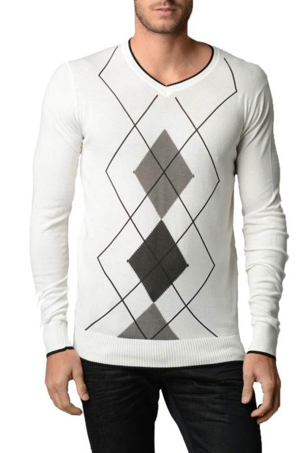 Men's Argyle Cream And Black Sweater