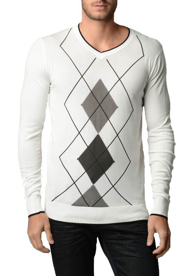 Men's Argyle Cream And Black Sweater