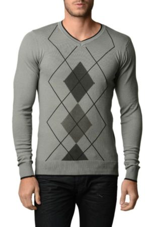 Men's Argyle Black & Charcoal Grey Sweater
