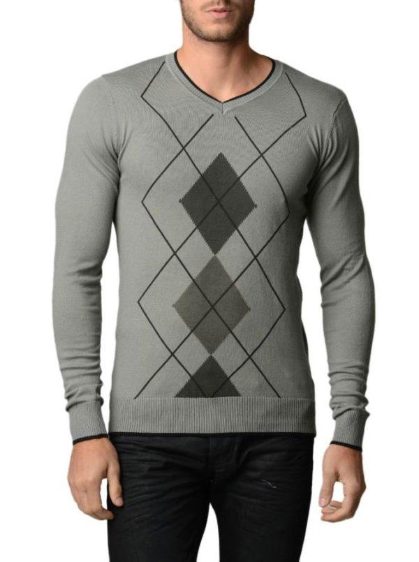 Men's Argyle Black & Charcoal Grey Sweater