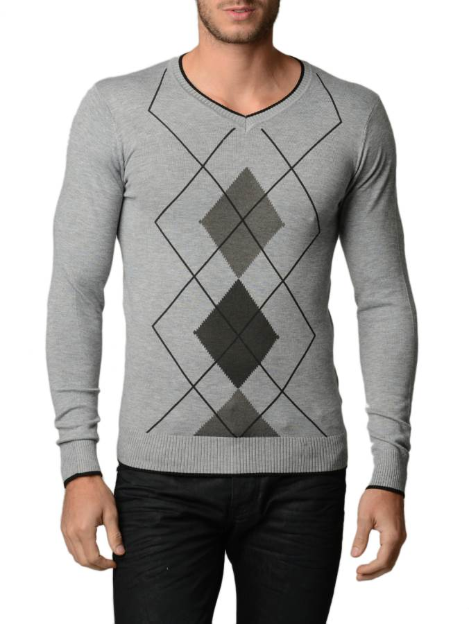 Men's L.Grey Melange And Charcoal Argyle Sweater