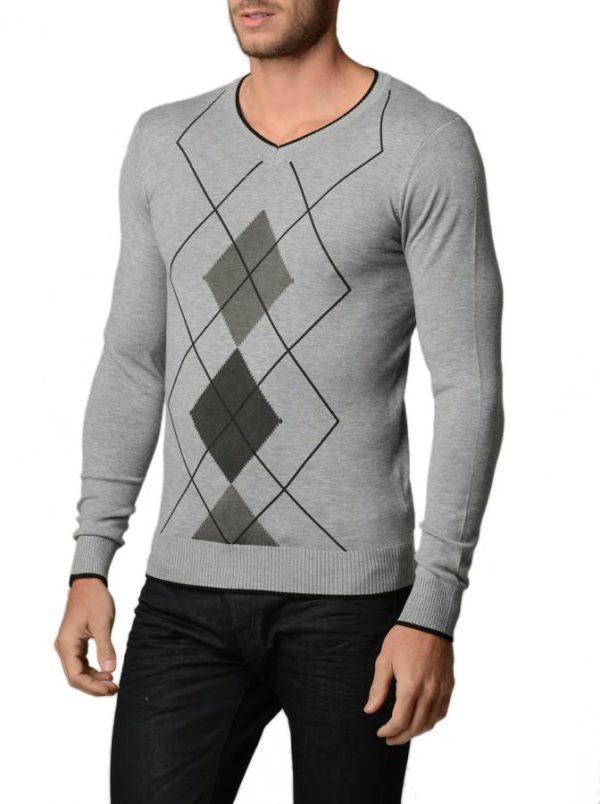 Men's L.Grey Melange And Charcoal Argyle Sweater