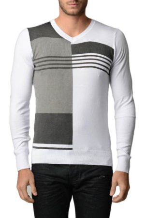 Men's Polar L.Grey And Black V Neck Sweater