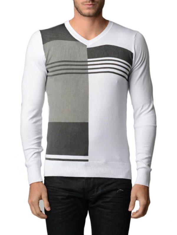 Men's Polar L.Grey And Black V Neck Sweater
