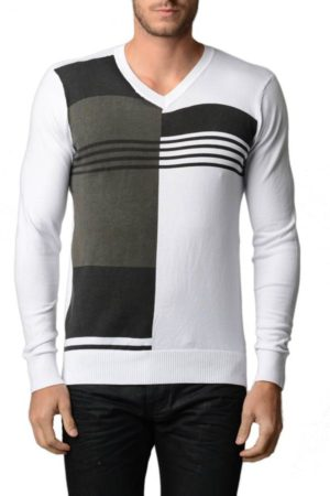 Men's Polar White And Black V Neck Sweater