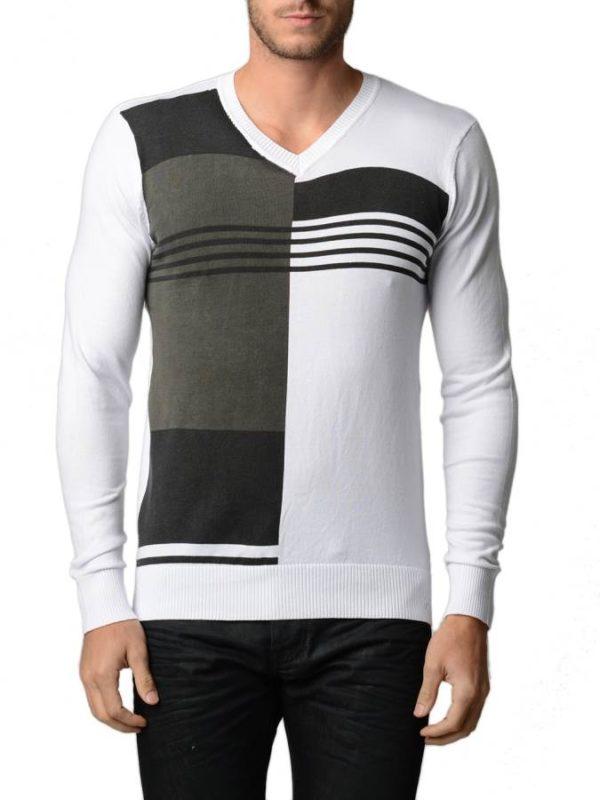 Men's Polar White And Black V Neck Sweater
