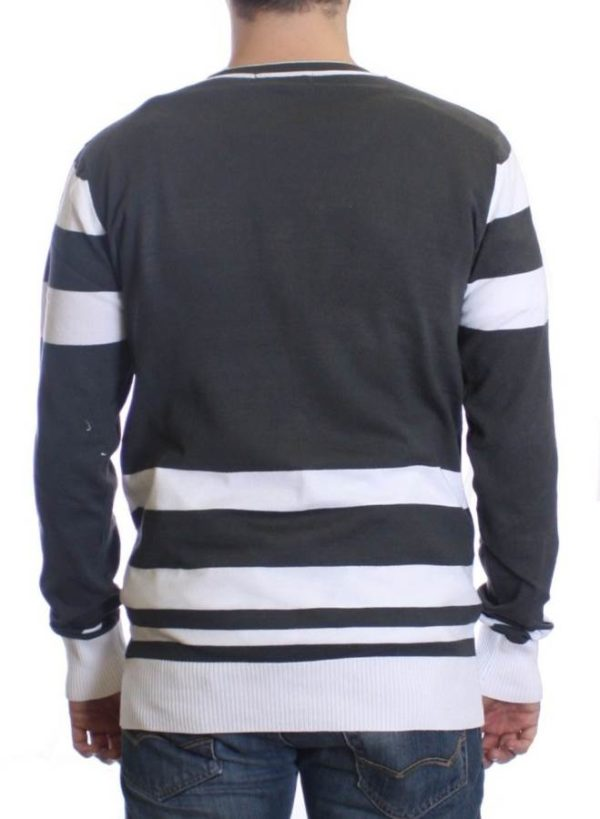 Beton And White Varsity Cardigan