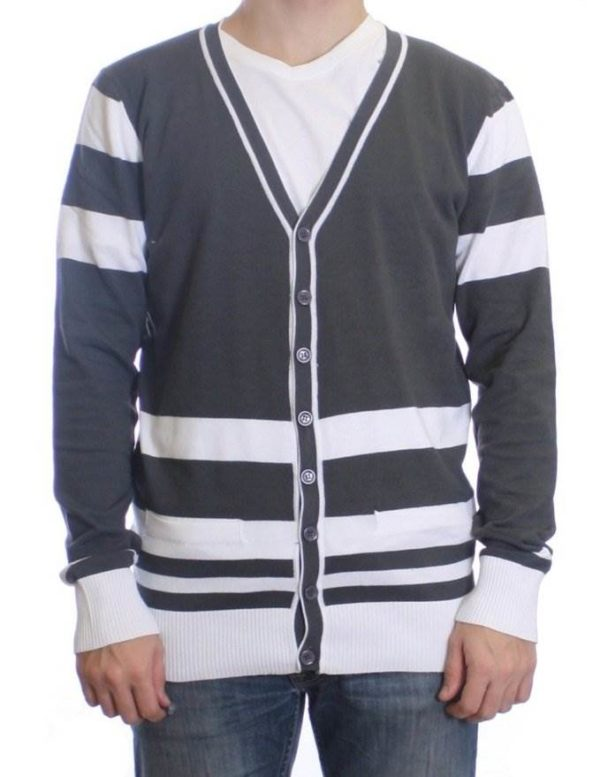 Beton And White Varsity Cardigan