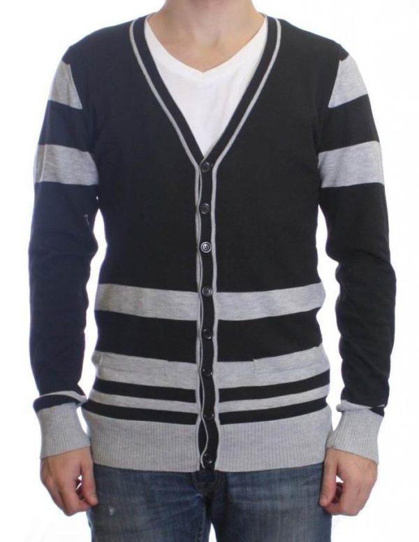 Black And Charcoal Grey Varsity Cardigan