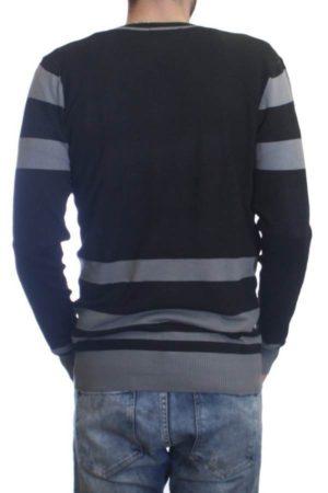 L.Grey/Black Melange Varsity Cardigan