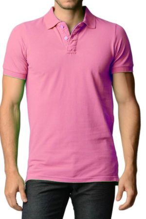 Men's Cotton Slim Fit Pink Polo Shirt