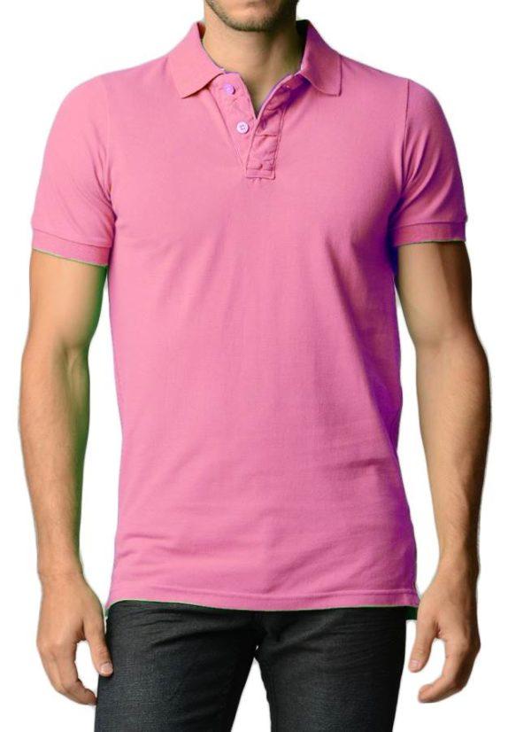 Men's Cotton Slim Fit Pink Polo Shirt
