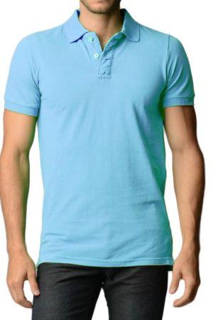 Men's Cotton Slim Fit Sky Blue Polo Shirt