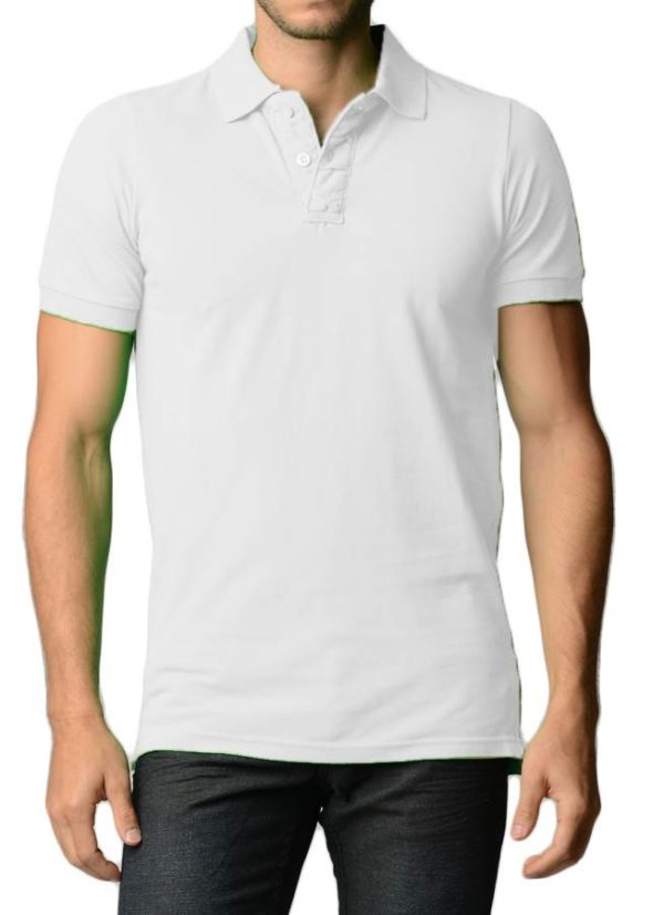 Men's Cotton Slim Fit White Polo Shirt