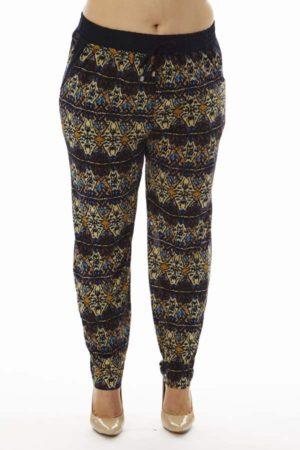 Geometric Kaleidoscope Print Plus Size Soft Pants
