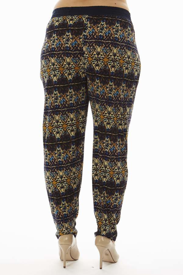 Geometric Kaleidoscope Print Plus Size Soft Pants