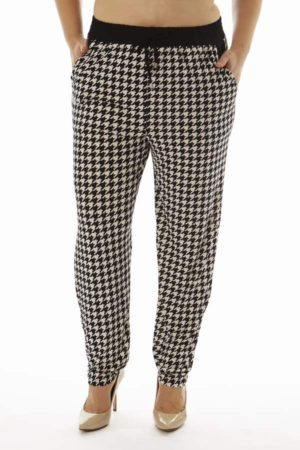 Houndstooth Print Plus Size Soft Pants