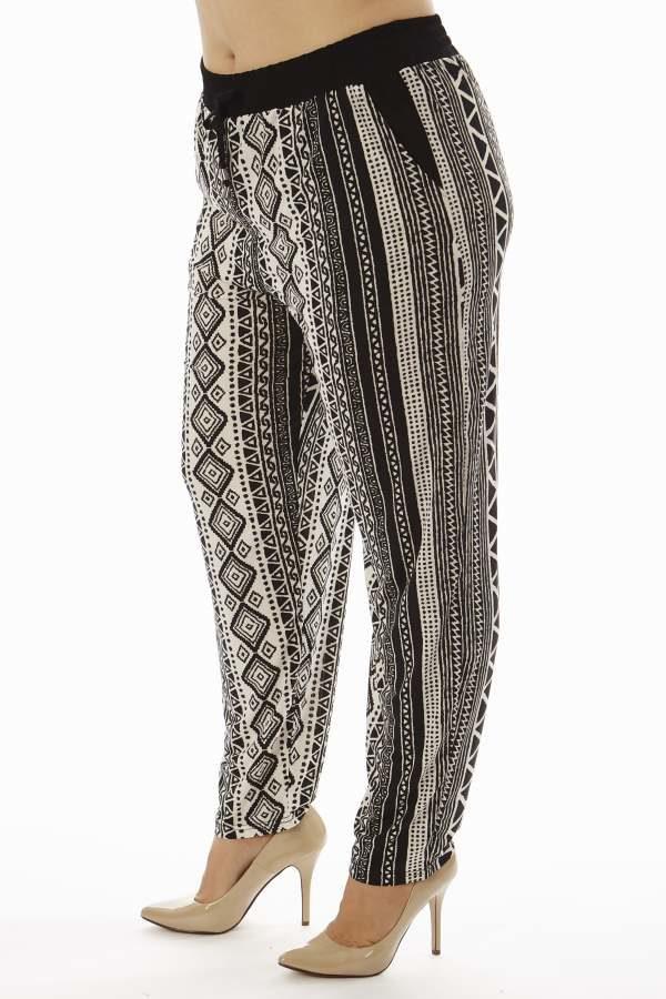 Tribal Zig Zag Print Plus Size Soft Pants