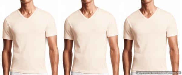 3 Pack-Men's V-neck Shirt- Cream
