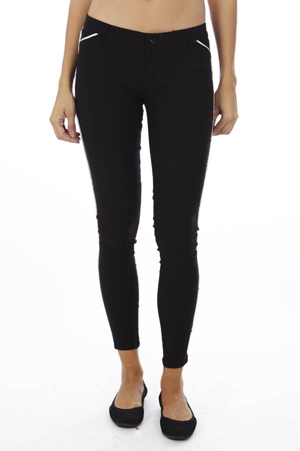 Black Slim Fit Side Stripe Jegging