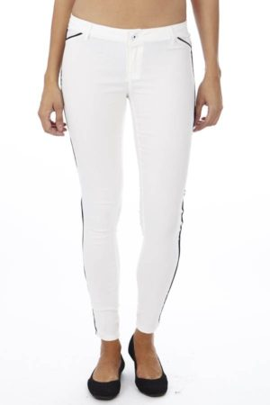 Slim Fit Side Stripe White Jegging