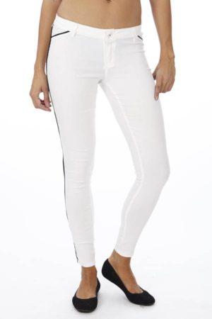 Slim Fit Side Stripe White Jegging