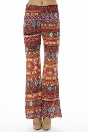 Coral Tribal Wide Leg Pants