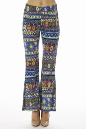 Blue Tribal Wide Leg Pants