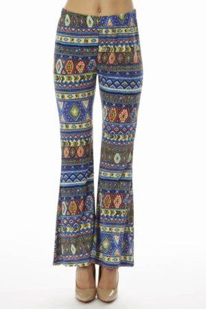 Blue Tribal Wide Leg Pants